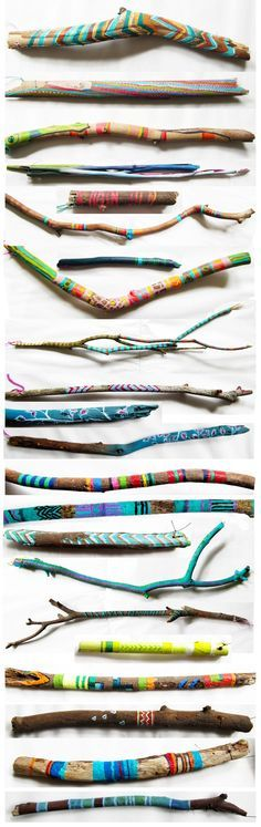 Tolle Ideen fürs Indianer spielen. Bemalte Stöcke.