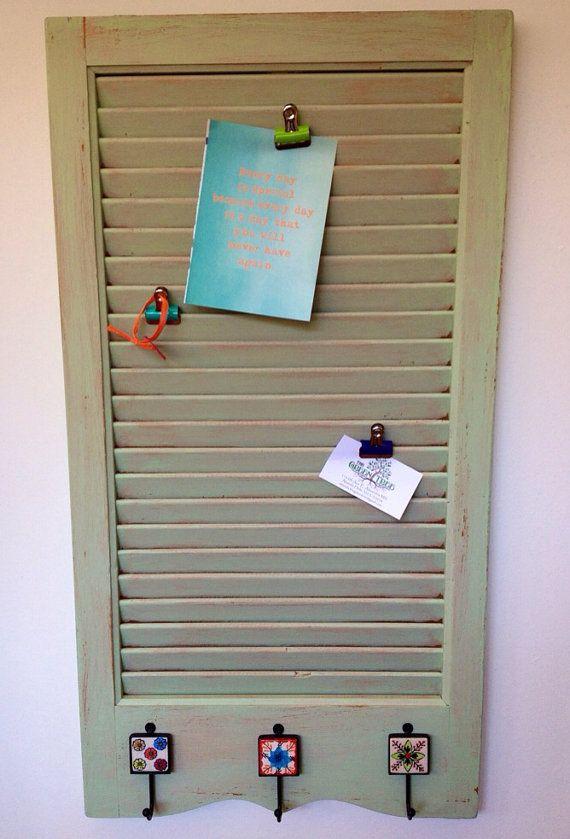 Wooden shutter message center with hooks by TheGreenTreeamanda, $40.00