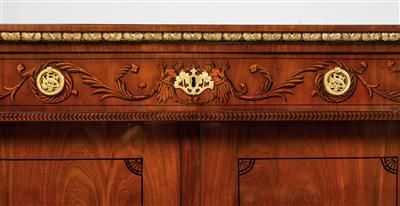 "Pair of half-height Empire cabinets, Vienna, ca. 1800/10. Mahogany-veneered and polished softwood cabinets with caryatids at the angles, finely executed India ink painting on the cornice, 1 maplewood drawer and 2 doors with crossbanded veneer, 7 later maple-veneered drawers (known as ""englische Schübe"") and gilt bronze mounts. 151 x 104 x 52 cm. Wien, Dorotheum, 22.04.15, no. 553."