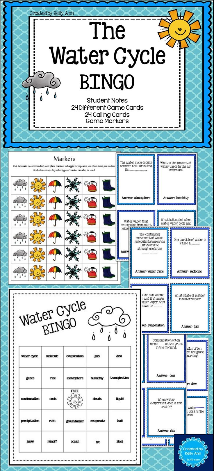 Water Cycle BINGO - Focused on content! Includes student notes!