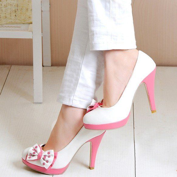 adorable: White Bows, Cute Bows, Bows Heels, Dresses Fashion, Pink Bows, White Pants, Women Shoes, Pink Shoes, High Heels