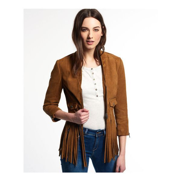 Superdry Neonomad Fringe Suede Jacket (1.210 BRL) ❤ liked on Polyvore featuring outerwear, jackets, brown, logo jackets, white zip jacket, cropped jacket, fringe jacket and brown fringe jacket