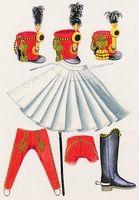 Piros csákók, nadrág, fehér köpeny és csizma (1-4)