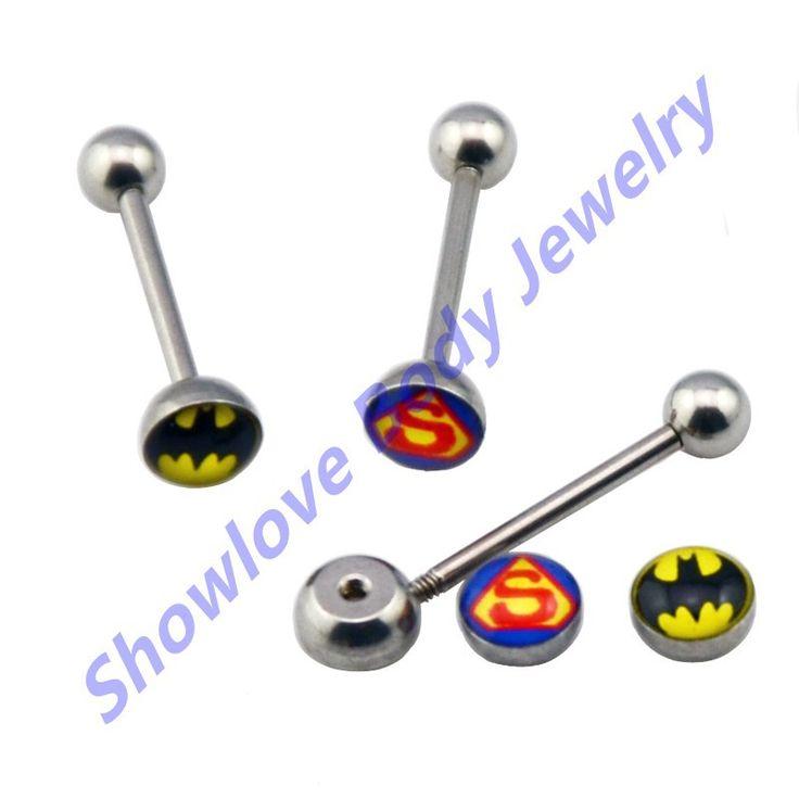 Showlove Banyak 2 pc Lidah Cincin Lidah Barbel Batman & Superman Tongue Body Piercing Perhiasan Tubuh