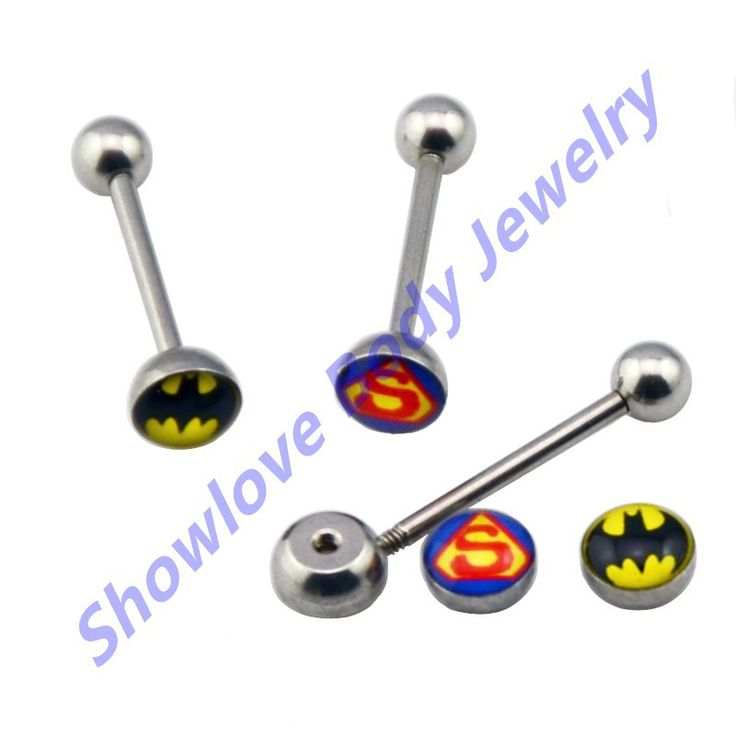 Showlove Lot of 2pc Batman Tongue Barbell & Superman Tongue Ring Body Tongue Piercing Body Jewelry