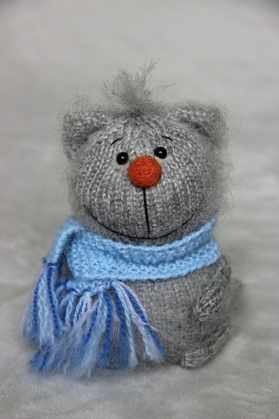 cat gray cat knitted cat surprise soft toy by Catsrabbitsdotcom