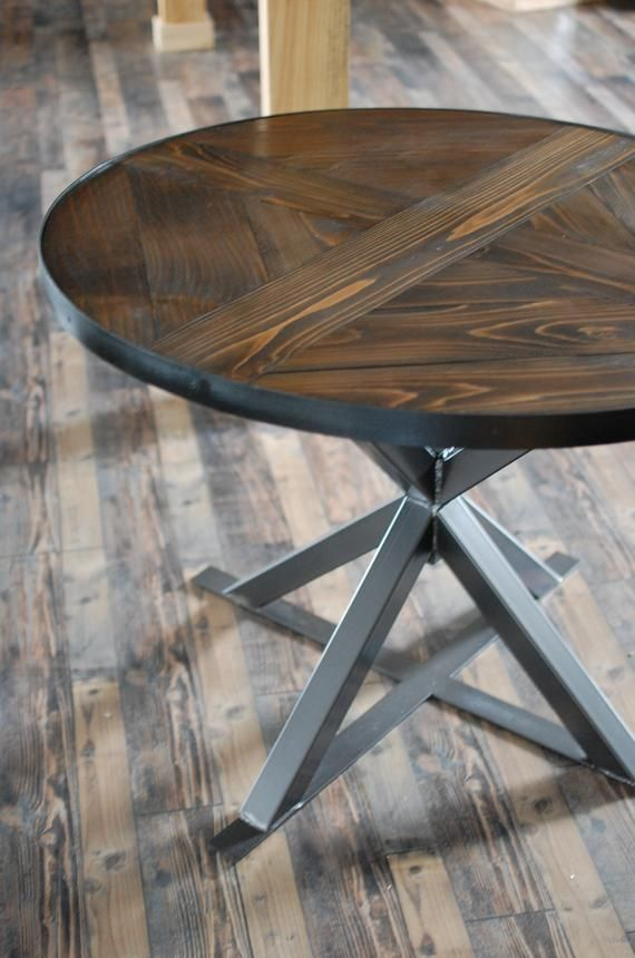 Industrial Round Wood Dining Table Industrial Round Dining Etsy In 2020 Round Wood Dining Table Dining Table Wood Dining Table