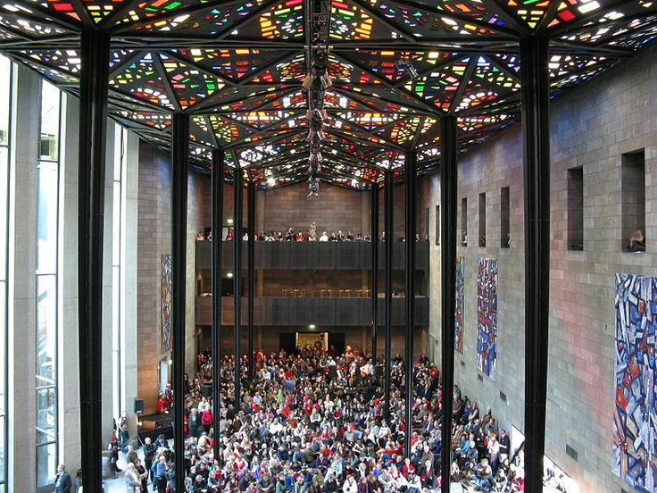 The stained glass ceiling of the Great Hall of the National Gallery of Victoria.  Melbourne, VIC, Australia.