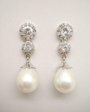 a92055a3de4e Pendientes de Novia Plata con perla pera y circonitas.