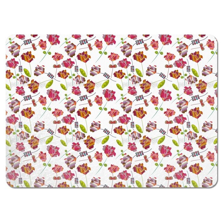 Uneekee Flowers From Peru White Placemats (Set of 4) (Flowers From Peru White Placemat) (Polyester, Floral)