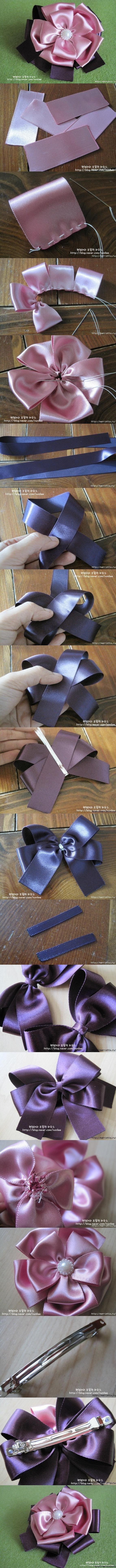 DIY Girl Ribbon Rose Clip