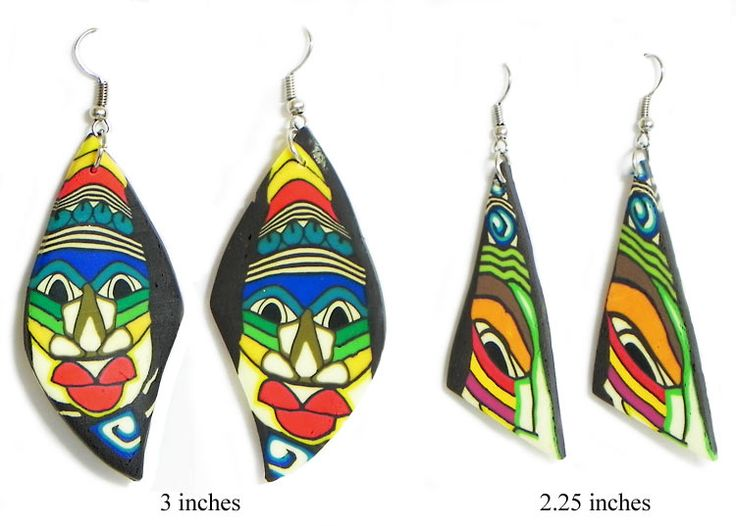 Two Pair of Painted Mask Earrings (Rubber)