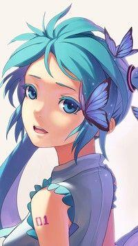 Hatsune Miku z motylkami