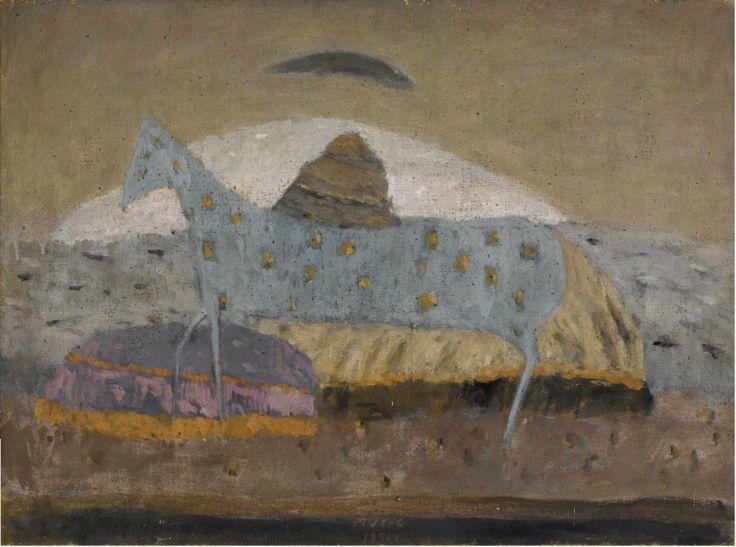 "blastedheath: ""Zoran Mušič (Slovenian, 1909-2005), Cavallo azzurro, 1950. Oil on canvas, 59.5 x 80 cm. """