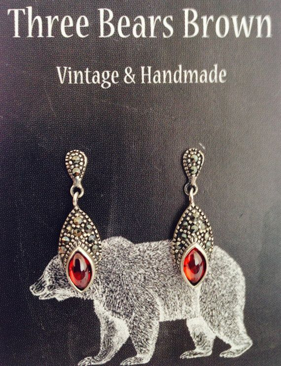 Sterling silver Art Deco style red carnelian by ThreeBearsBrown