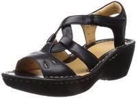 Clarks Ladies Wedge Sandals Un Stern Black Leather UK 4 - 5