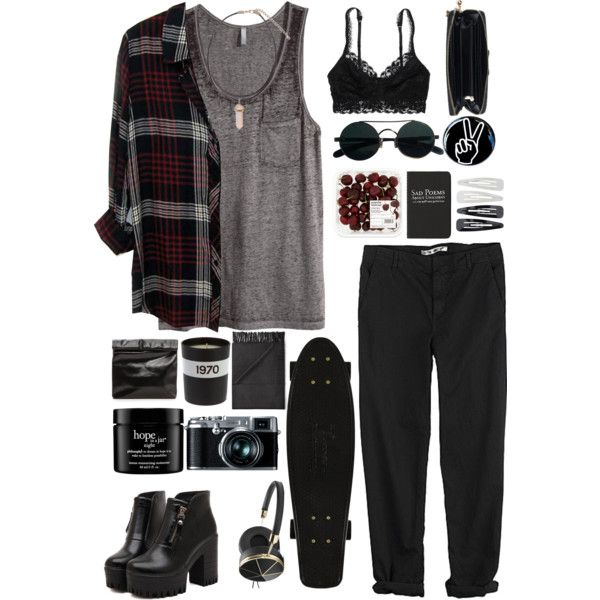 Grunge Fun by carol9801 on Polyvore featuring mode, H&M, Rails, GG 750, American Eagle Outfitters, Dr. Martens, Marie Turnor, Acne Studios, Frends and Forever 21