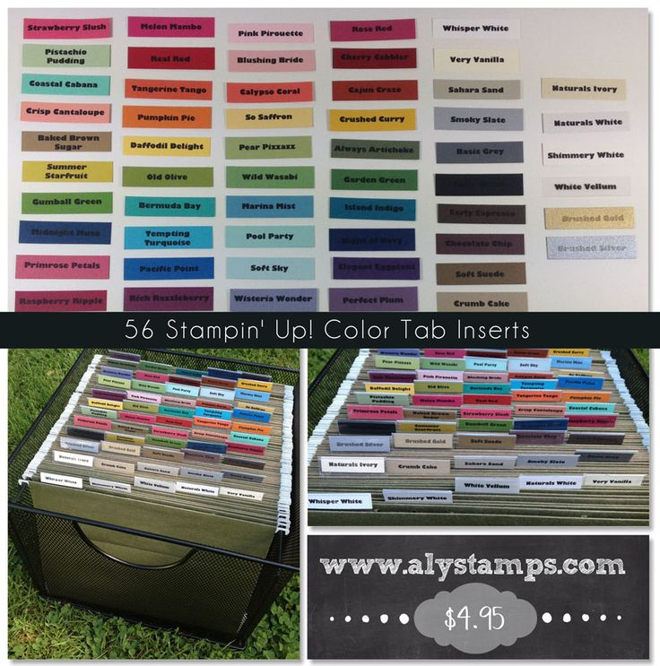 Organize all of your Stampin' Up! Cardstock with these 56 Cardstock Color Tab Inserts!