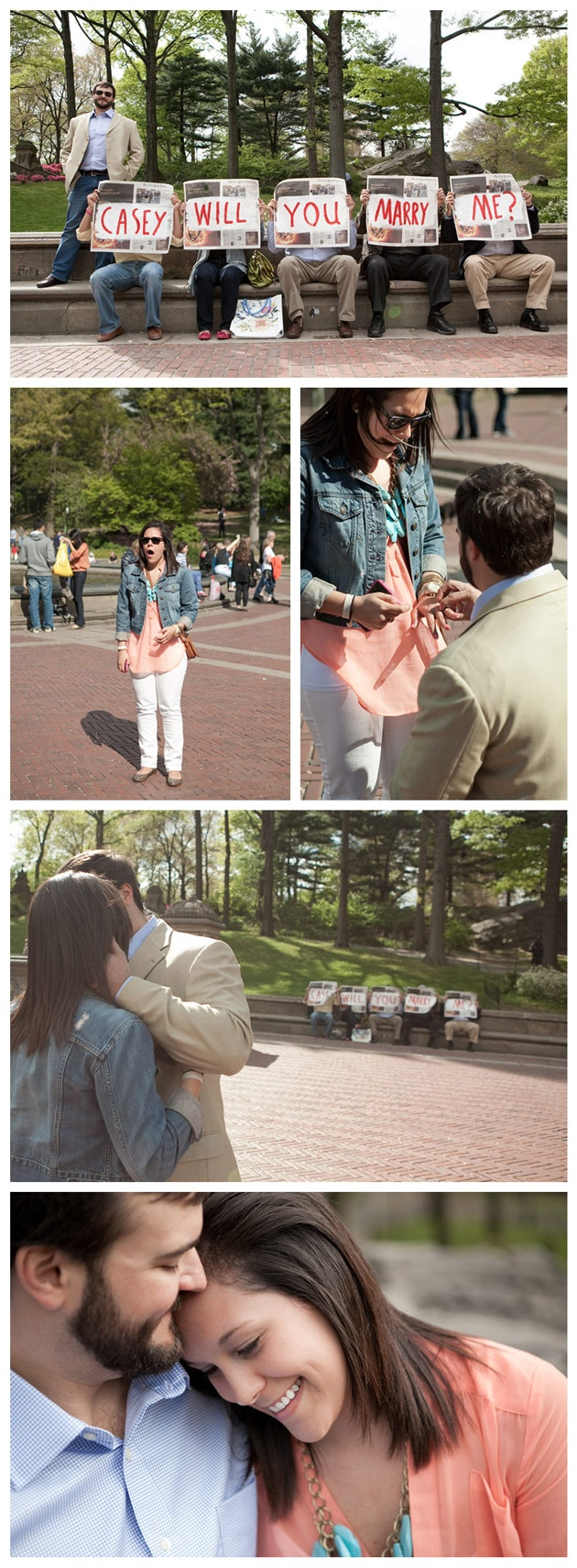 Awesome Surprise Proposal in Central Park. The family secretly hiding behind the newspaper.  © Moss + Isaac mossandisaac.com