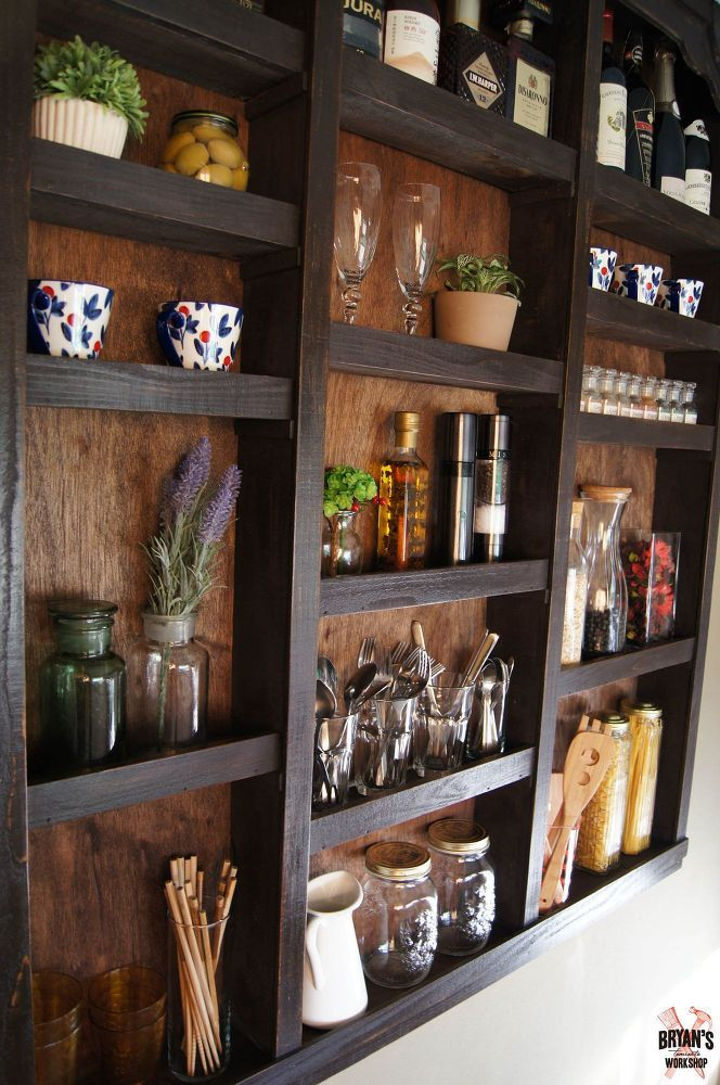 built in kitchen wall shelves for the wall by the laundry room - Ideas For Kitchen Walls