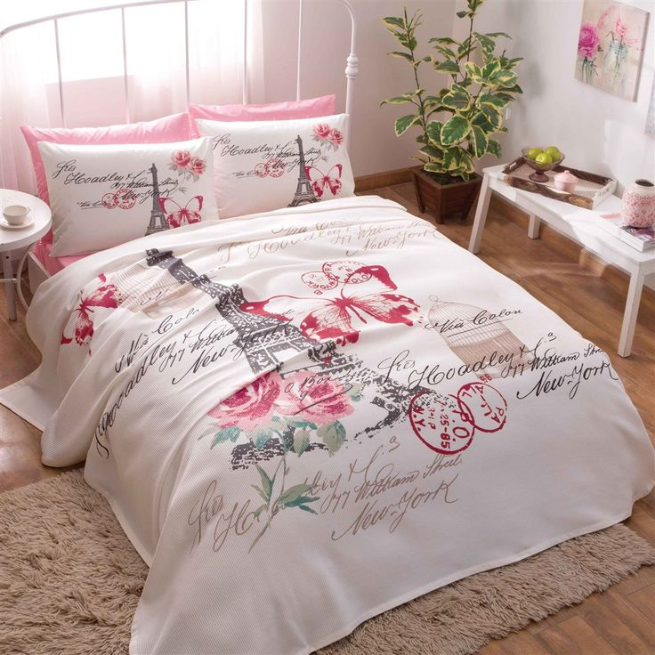 Paris Pink Coverlet Set With Fitted Sheet Amp Pillowcases