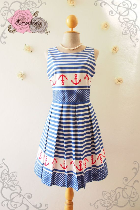 Nautical Lady  Bright Blue Summer Dress Cute Sun by Amordress