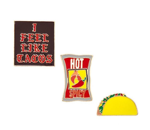 A trio of delightful pins that proves three is the perfect number (when it comes to tacos). | 39 Awesome Things To Buy At Forever 21 Right Now