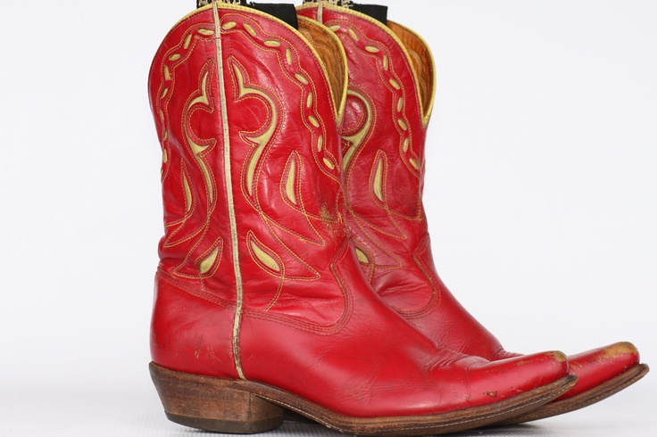 Beautiful vintage Acme cutout red leather ladies pee wee cowboy boots 8 C (wide) NICE. $240.00, via Etsy.