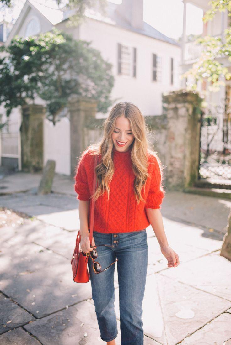 "Gal Meets Glam Twenty Six - Demylee sweater, J.Crew jeans, Celine bag, Bobbi Brown lipstick in ""Red"" & Zanzan sunglasses"