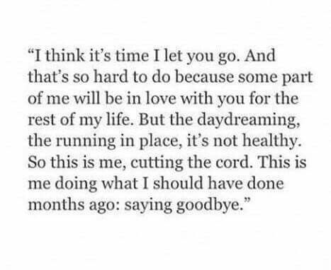 Months, years...it's still goodbye. And it's so necessary.