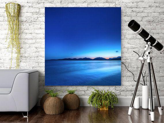 Blue Art - Extra Large Wall Art - Dramatic Art - Abstract art - loft art  - Scottish deserted beach - oversized art metal - READY TO HANG