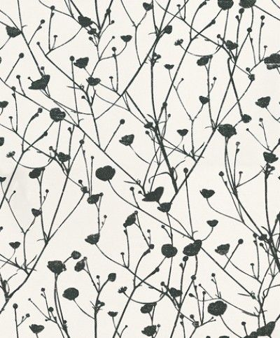 Vegetal (BTW6111 00 95) - Caselio Wallpapers - A modern floral trail with branches and buds with a distressed effect shown in black and white. Please request a sample for a true colour match. This is a paste the wall product.
