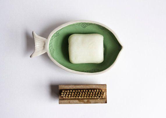 large soap dish. ceramic fish. bathroom decor. blue, green bathroom accessories. soap holder. soap drying rack. karoart