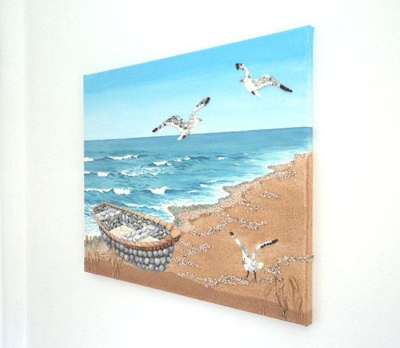 Acrylic Painting, Beach Artwork with Seashells and Sand, Fishing Boat & Seagulls, Seashell Mosaic on Sand, Mosaic Art, 3D Art Collage
