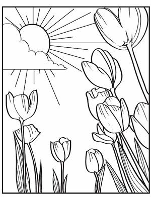 10 Free Printable Easter Coloring Pages to keep the kids busy, have a coloring contest!    Field of tulips, cherry blossoms, butterflies, birds, eggs, bunnies, etc.