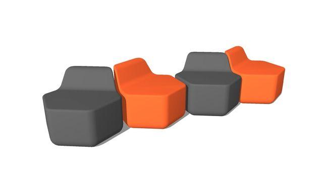 modular hexagonal seats - 3D Warehouse