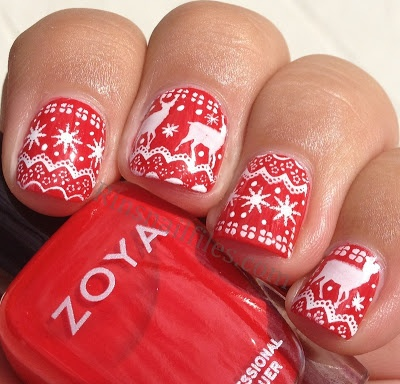 Christmas red & white nails. Great for ugly Christmas sweater day..............
