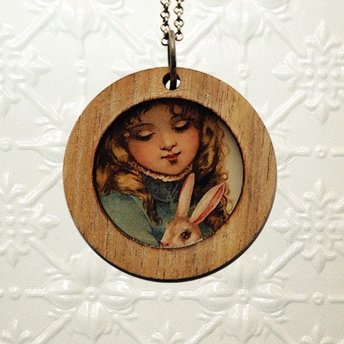 Shonah jewellery - girl & rabbit pendant