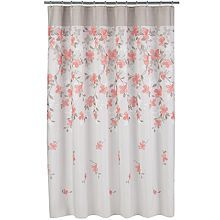 Coral Garden Striped Fabric Shower Curtain
