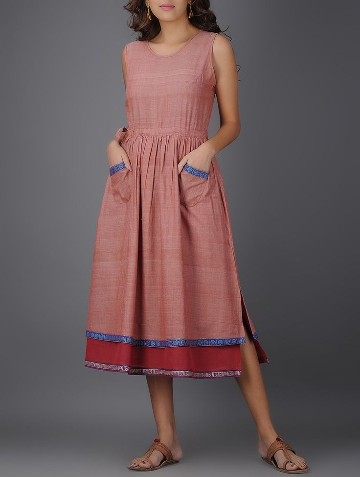Buy Pink Round Neck Handwoven Mangalgiri Cotton Layered Dress with Gathers Online at Jaypore.com