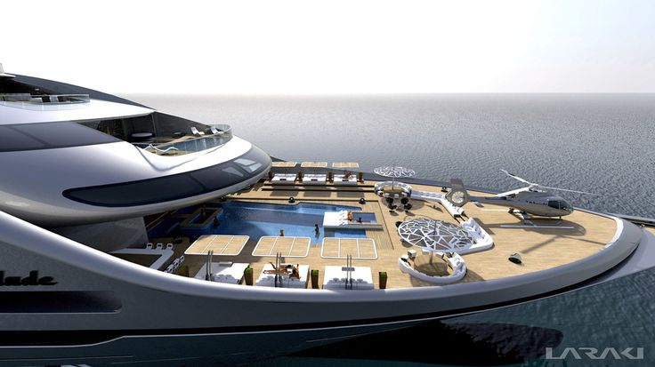 "Gigayacht concept ""Prelude"". Fish pond and sushi bar on board complacent? At 163 meters long and nine decks to yacht designer Abdeslam Laraki from California has fully abated."
