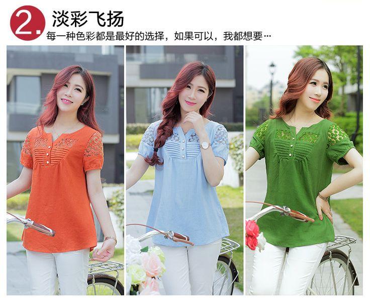 2016 mujeres de la manera blusas tops camisas de Lino de manga corta Con Cuello En V de encaje blusa blusa femenina camisa de las mujeres más el tamaño en Blusas y Camisas de Ropa y Accesorios de las mujeres en AliExpress.com | Alibaba Group