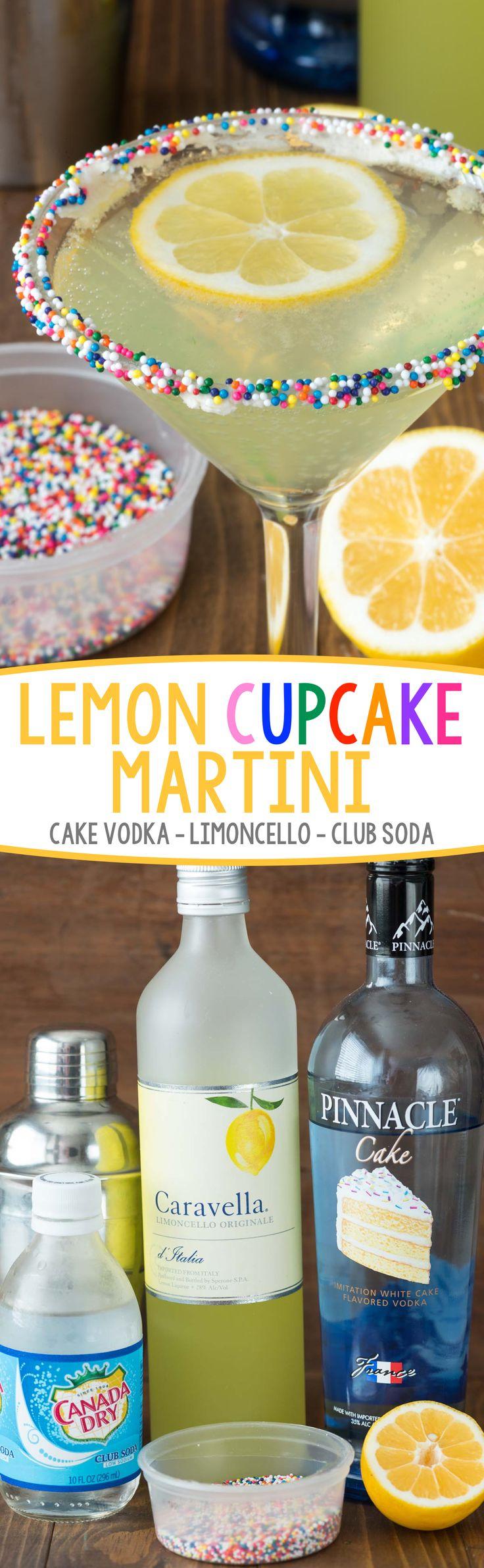 Lemon Cupcake Martini - only 3 ingredients in this easy martini recipe that tastes like a lemon cupcake!
