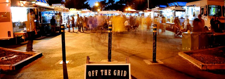 This happens twice a week right around the corner!  =)  Off the Grid is your roaming mobile food extravaganza -- bringing you delicious food, with free sides of music, craft and soul. Check out all your favorite gourmet food vendors in one place - creating markets like you've never seen before.