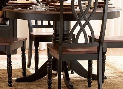 "48"" Ohana Round Dining Table - Black By Homelegance Furniture MPN: 1393BK-48 by Homelegance. $469.84. Unique chair back supported by turned legs. Casual country home. Solid wood table top. Antique black and warm cherry finish. Belongs to Ohana Collection. The design of Ohana Collection captures the essence of a casual country home. Its antique white and warm cherry, or antique black and warm cherry finishes give it a striking 2-toned apprearance. The solid wood table ..."
