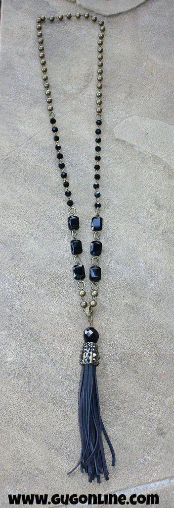Pink Panache Long Black Crystal Beaded Necklace with Tassel #longbeadednecklaceideas