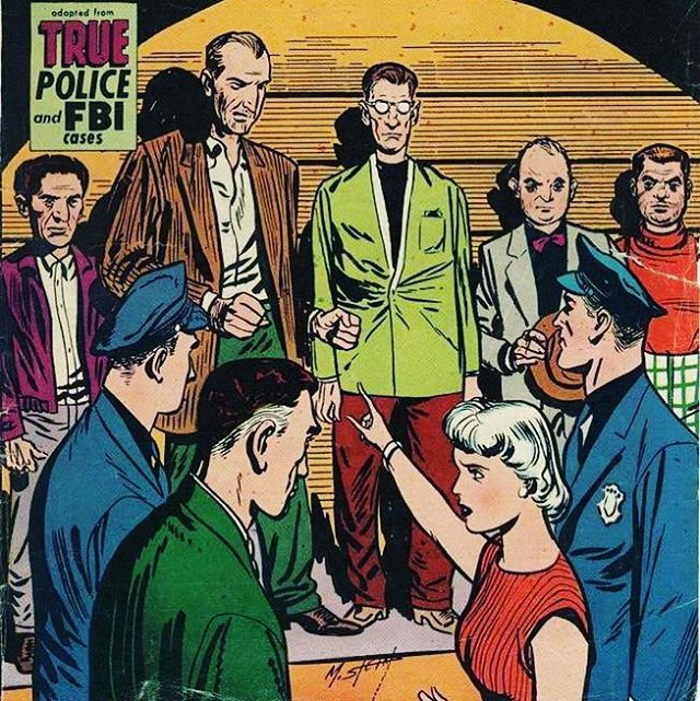 """Simon & Kirby were successful with nonsuperhero genres at Prize publications including this Crime comic Justice Traps The Guilty 56 1953.  This cover is notable for having their bullpen on the cover from left to right Ben Oda - letterer Joe Simon Joe Genalo Mort Meskin and Jack """"the King"""" Kirby."""