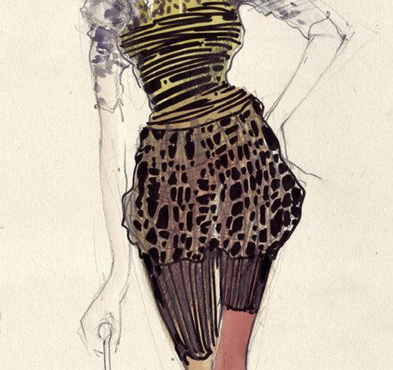 Fashion sketch yellow costume mixed technique.
