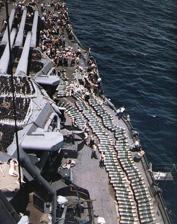 14 inch shells on the deck of the USS New Mexico in 1944