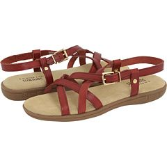 comfy walking sandals in cinnamon red.